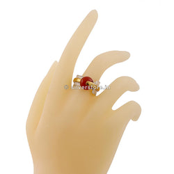 925 Designer Red Stone Silver Ring