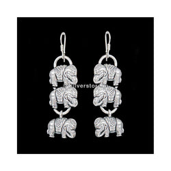 Silver Elephant Stack Earing