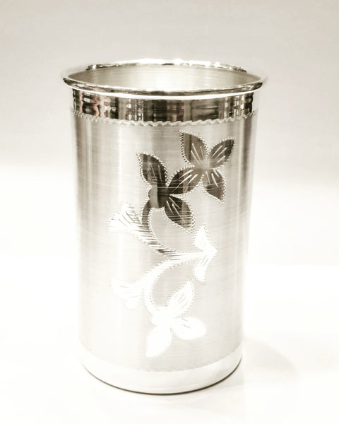 Flower Designed Silver Glass