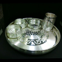 Pure Silver Dinner set with gold flower in the Center - Bis hallmarked