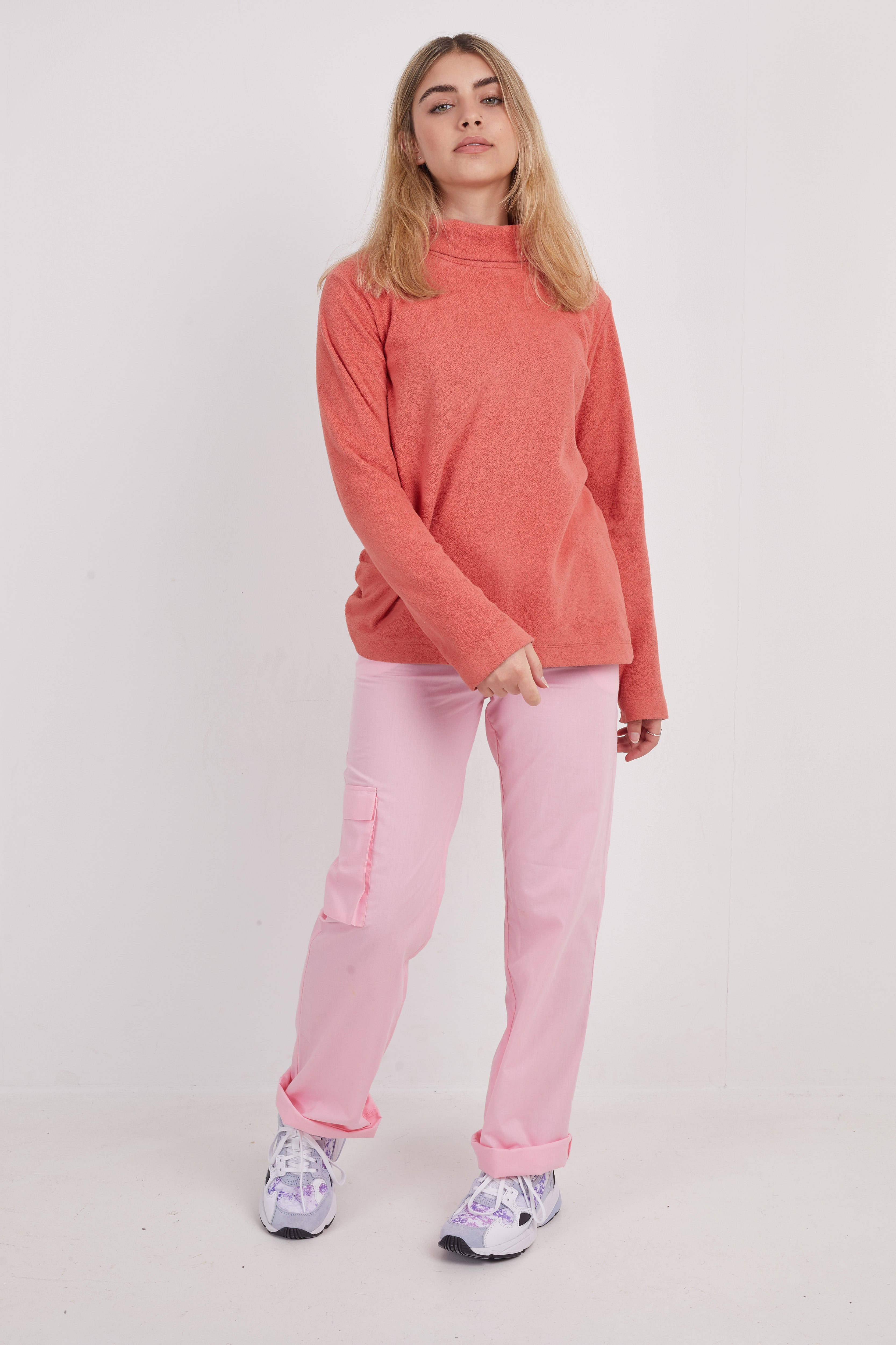 Vintage Plain Roll Neck Fleece