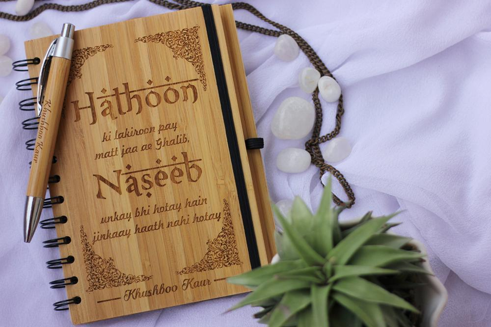 Personalized Wooden Notebooks in Bengali & Hindi