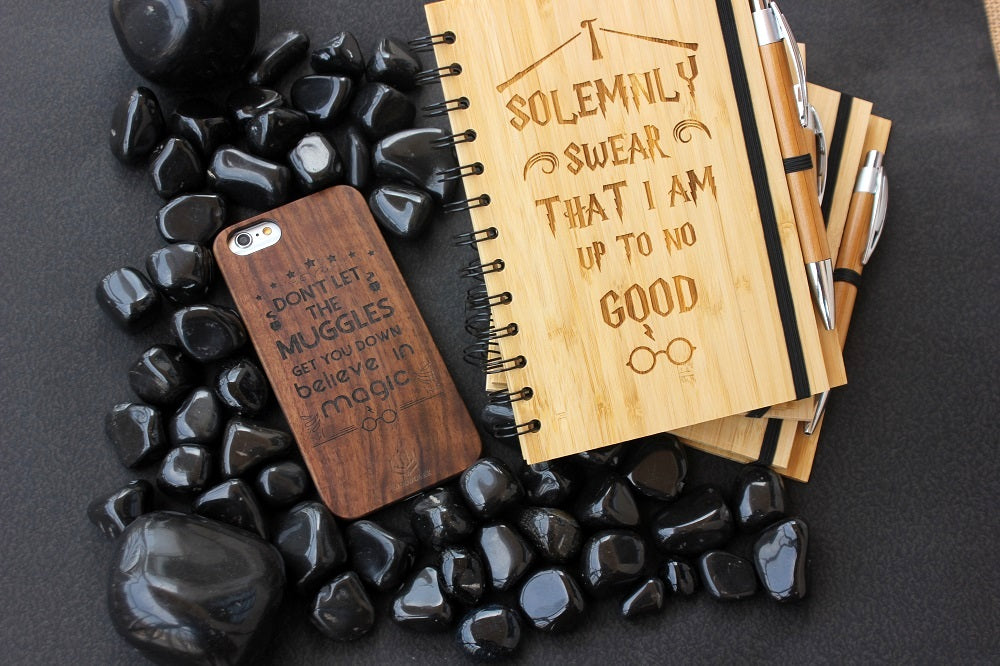 I solemnly swear I am upto no good - Marauder's Map - Marauder's map notebook - wood notebook - notebooks Harry Potter Notebooks - Harry Potter gifts - Harry Potter - Potterheads - Woodgeek Store
