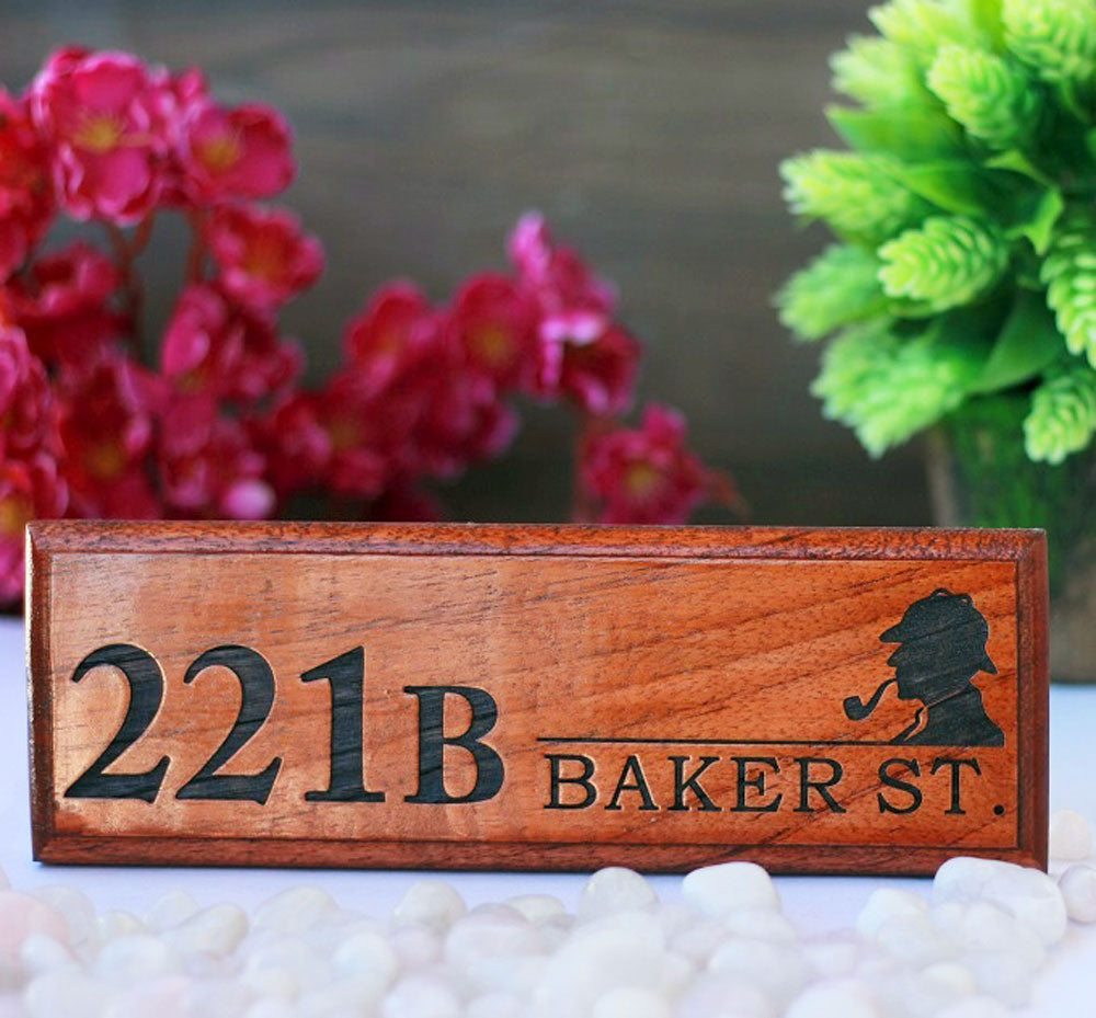 Sherlock Holmes Plaque - 221b Baker Street Sherlock Holmes Name Plate - Door Name Plates - Gifts for Sherlock Fans - Wooden Name Plates - Woodgeekstore