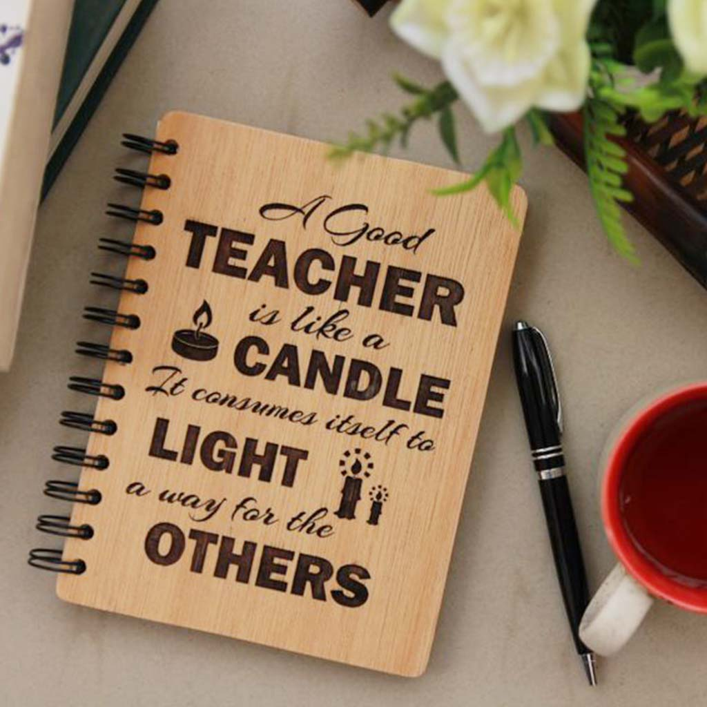 A Good Teacher Is Like A Candle Personalized Journal. This Journal Notebook Is One Of The Best Gifts For Teachers. This Makes Unique Teacher's Day Gifts For Him Or Her.