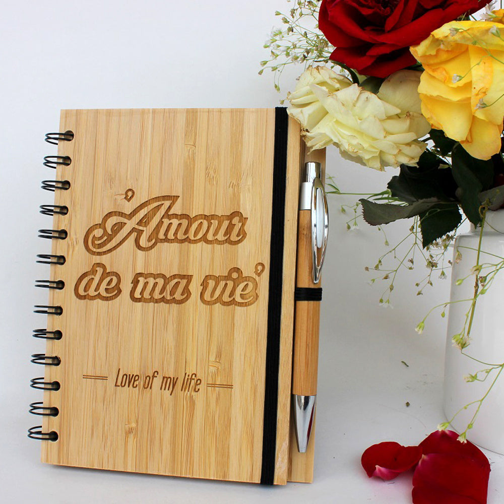 Amour De Ma Vie Wooden Love Journal -  Valentine's Day Gift Ideas - Engraved Notebook - Best Notebooks For Writing - Romantic Gifts For Him - Romantic Gifts For Her - Valentine's Day Gifts - Unique Gift Items - Woodgeek - Woodgeekstore
