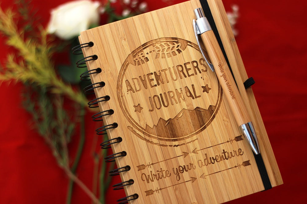 Adventure Journal - Customized Wooden Notebook by Woodgeek Store