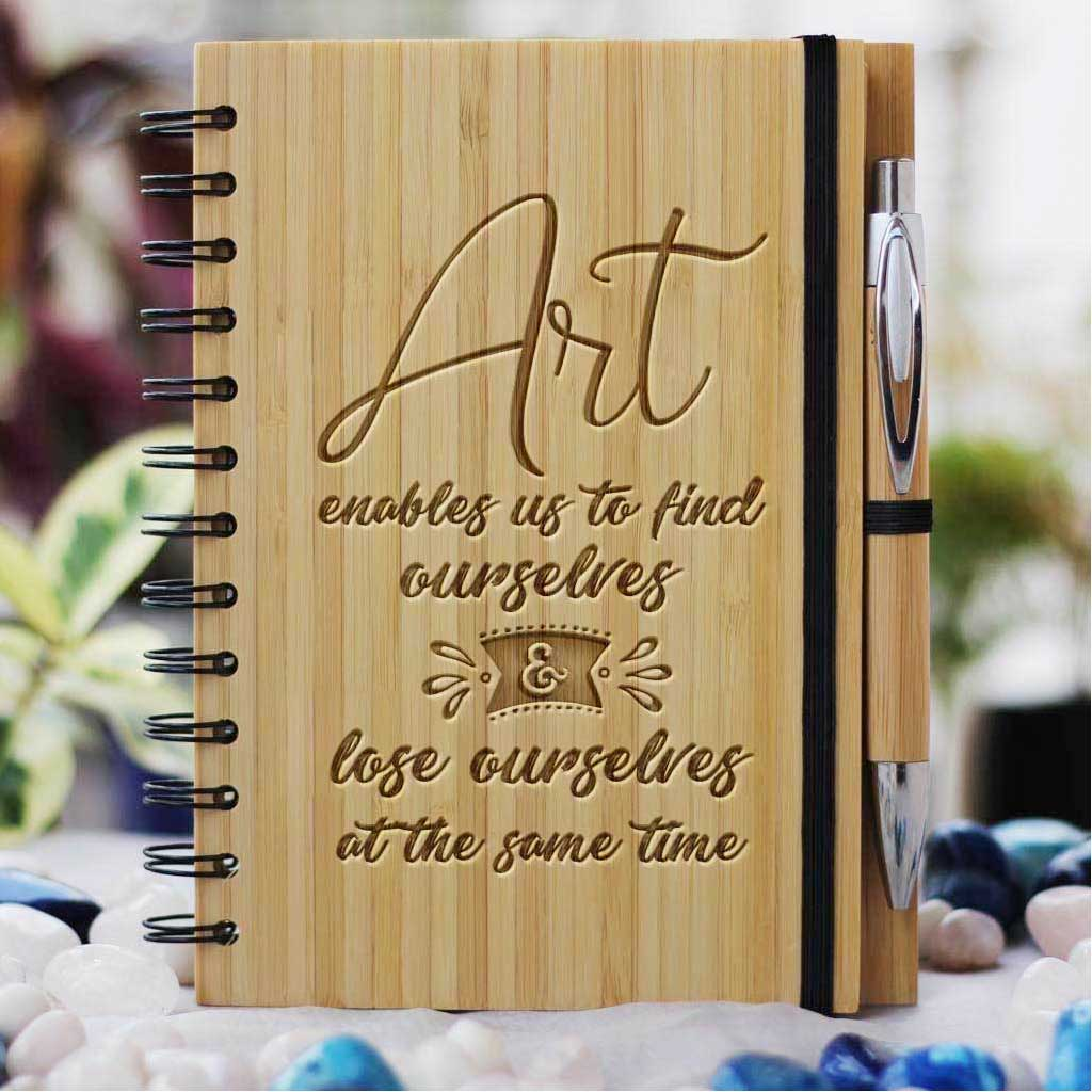 Art Enables Us To Find And Lose Ourselves Wooden Notebook - This Personalized Art Journal Makes A Perfect Gift For Mum - Buy More Personalized Mother's Day Gifts From The Woodgeek Store