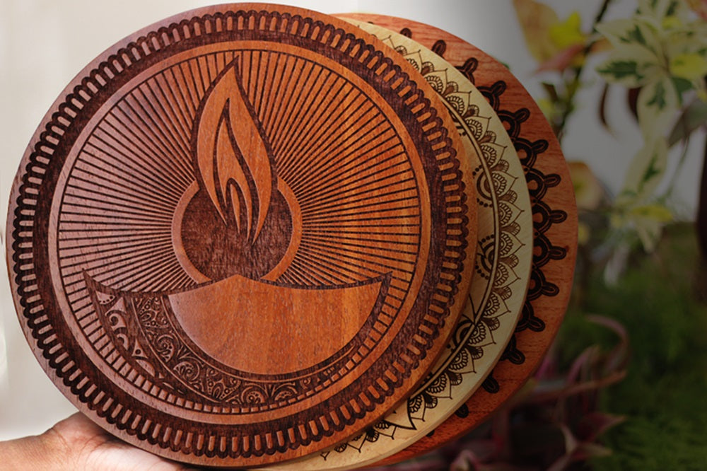 Diya Wooden Poster- Diwali gifts for friends - Best Diwali Gift Options- Diwali Gift Ideas For Family - Diwali Diya - Deepawali Gift - Woodgeek Store