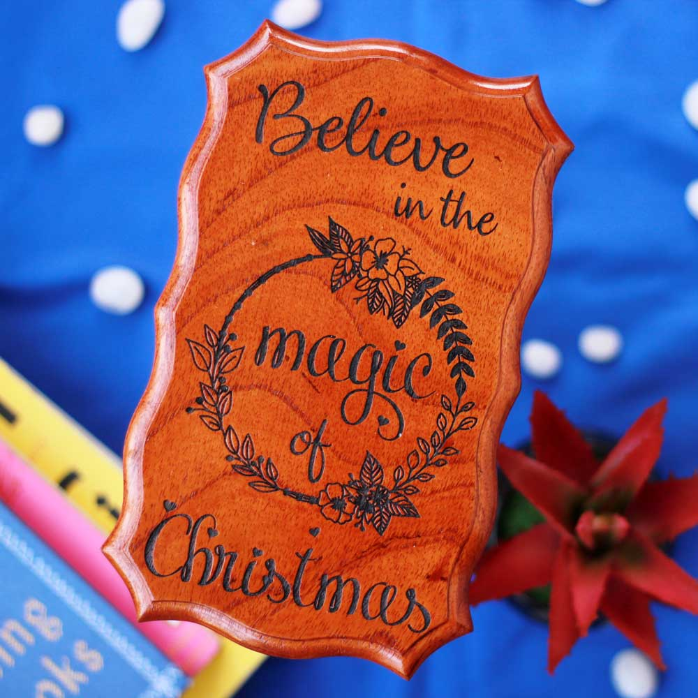Believe In The Magic Of Christmas Best Wood Sign Online - Unique Wooden Plaques - Wooden Signs For Home - Wood Art - Unique Christmas Gifts - Woodgeek - Woodgeekstore