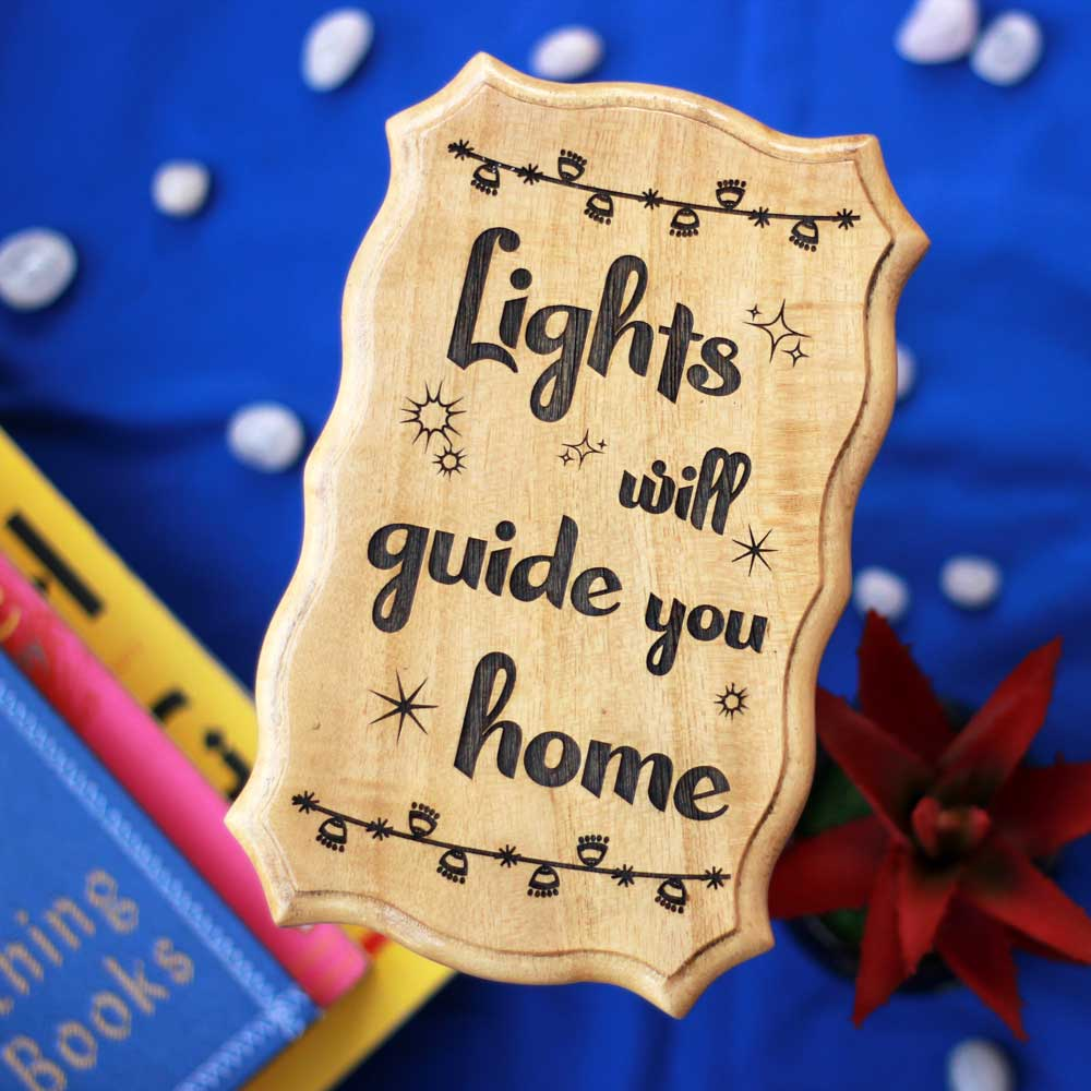 Lights Will Guide You Home Unique Wood Sign - Best Christmas Gifts - Engraved Wood Sign - Wooden Plaques - Rustic Wood Sign - Woodgeek - Woodgeekstore