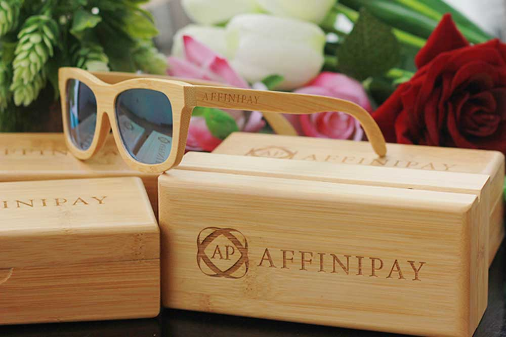 Personalized Wooden Sunglasses as Corporate Gifts for Employees. Custom engraved sunglasses with company name and logo. This is the best business promotional gift idea. Personalised Corporate Gifts For Clients.