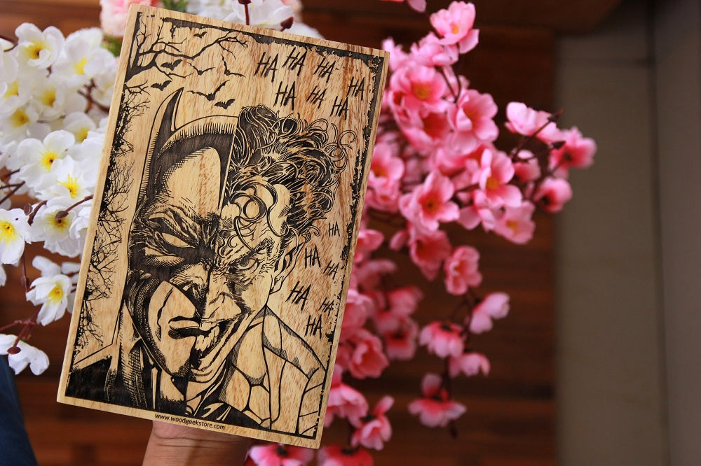 Batman and Joker engraved wood poster - wooden posters online - movie posters - unusual birthday gifts - cool birthday gift ideas - best friend birthday gifts - batman poster - batman poster art - wooden posters online - woodgeekstore