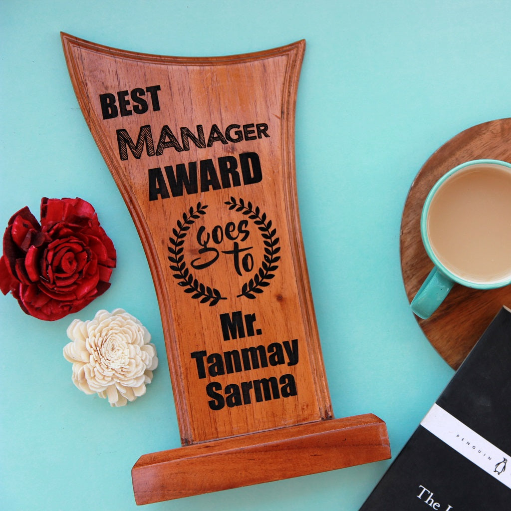 Personalized Best Manager Wooden Award Standee - This award trophy makes a wonderful employee recognition award - Looking for unique gift ideas for boss, or colleagues? This personalized trophy stand is one of the best office gift ideas