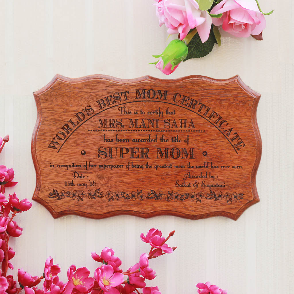 World's Best Mom Award and Wooden Certificate for Mothers by Woodgeek Store