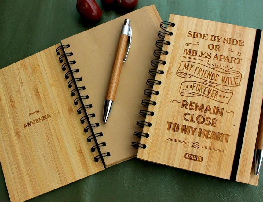 Return Gift for Birthdays - Custom wood friendship journal - Woodgeek Store