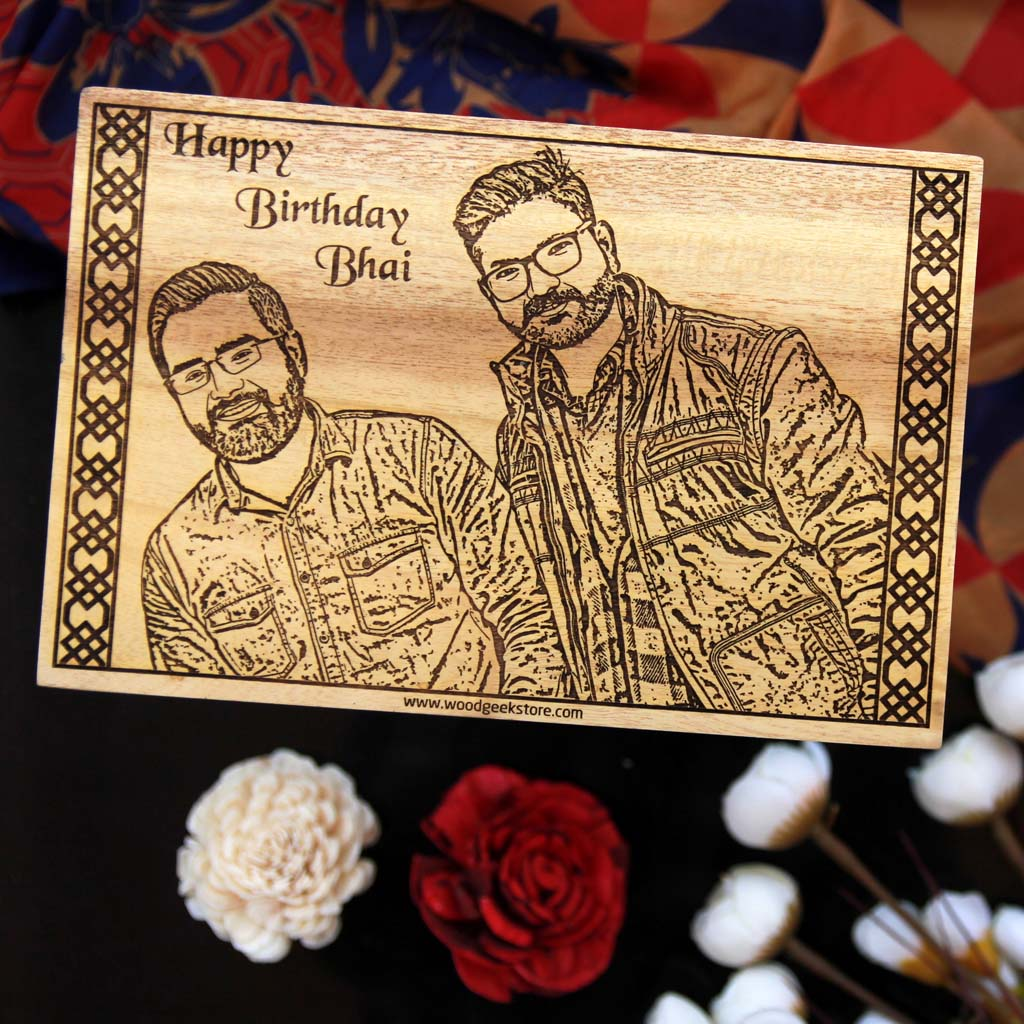 This Wood Engraved Photo with A Birthday Message Is The Best Birthday Gift For Brother. Looking for gifts for brother? This Photo On Wood Is A Great Gift Ideas For Brother.