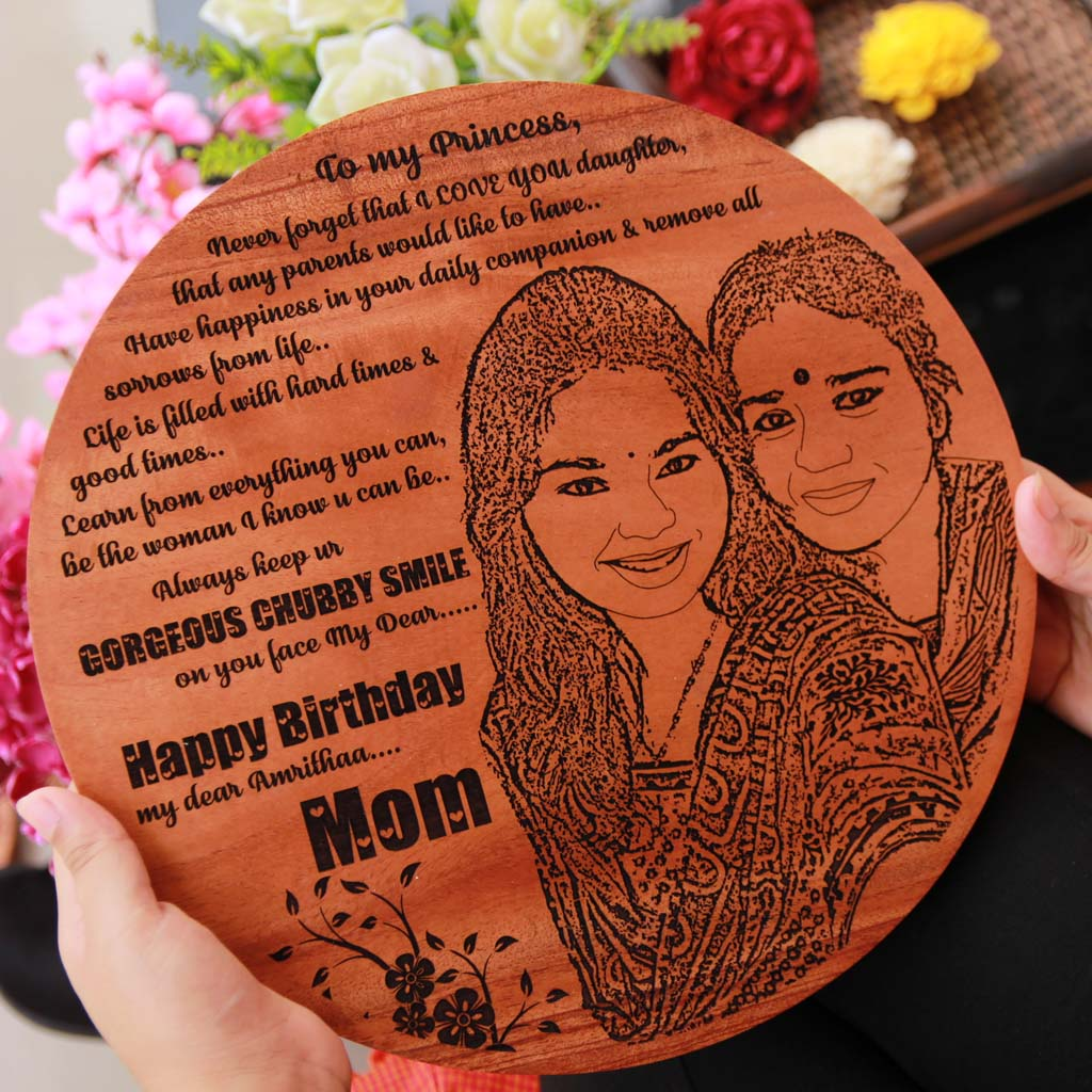 A Wood Engraved Photo and a carved birthday message makes best birthday gifts for daughter. A gift for daughter engraved with a photo on wood. Looking for gifts for girls? This Personalised Gift Is Perfect!