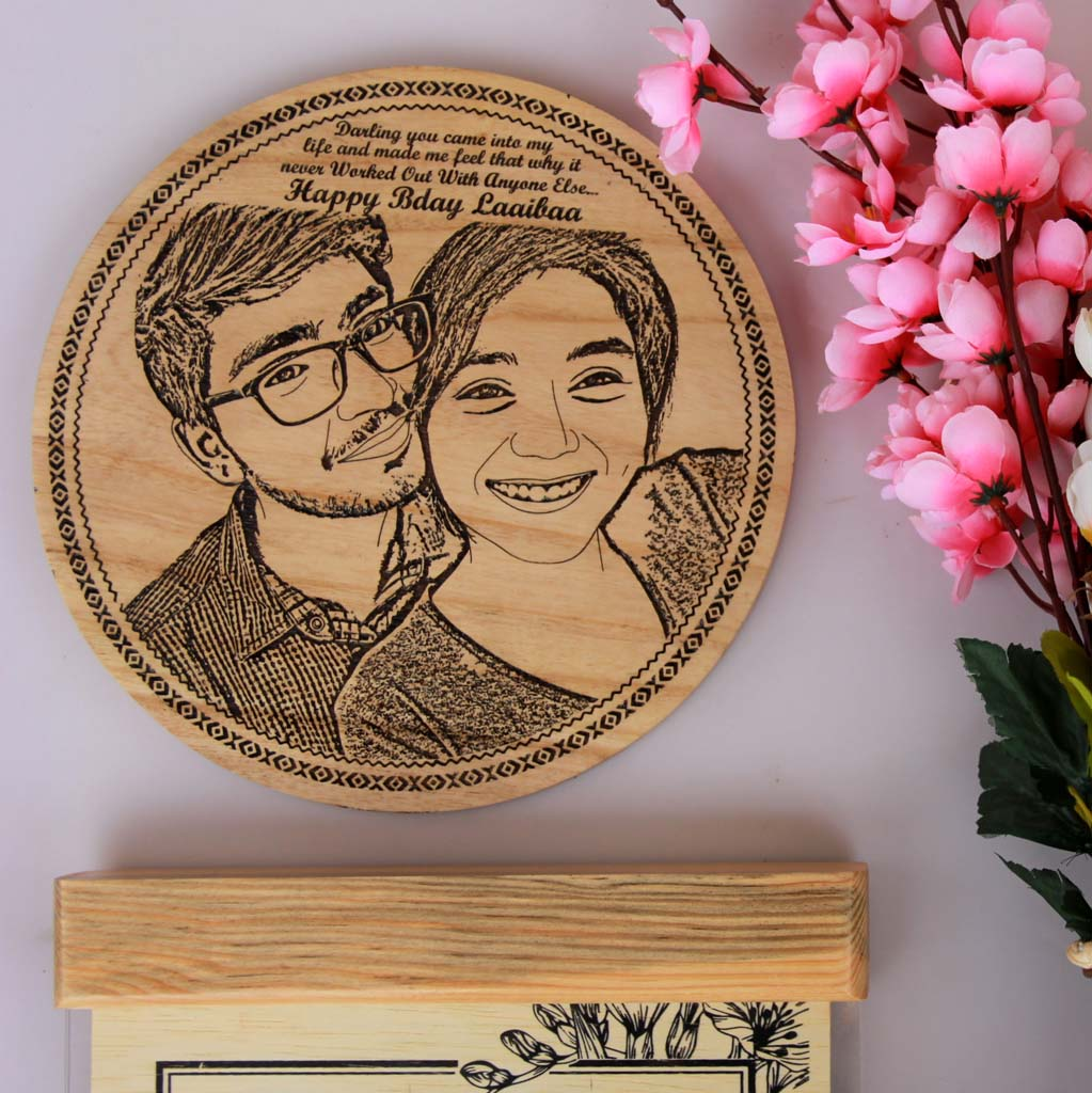Wood Engraved Photo And Birthday Wishes. This photo on wood is the best birthday gifts for wife and birthday gift for girlfriend. These wooden posters make unique birthday gifts for her and birthday gifts for women.