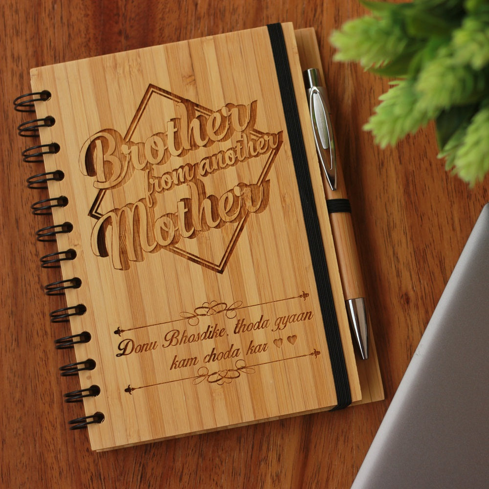 Brother From Another Mother Wooden Journal Notebook