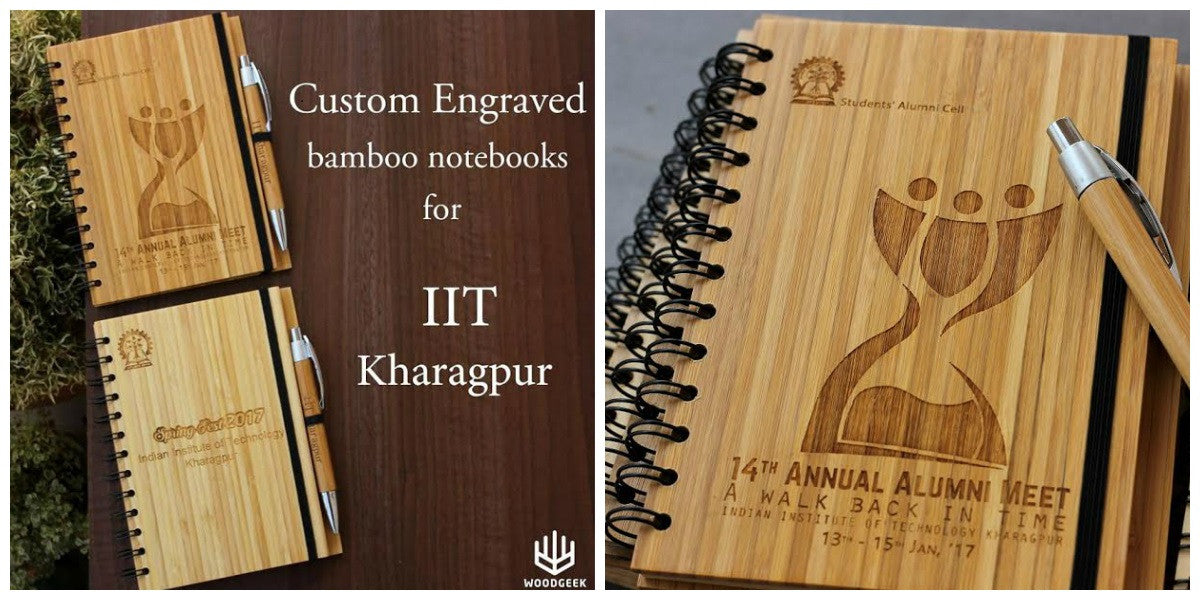 Bulk Order - Custom bamboo journals for IIT Kharagpur - Woodgeek Store