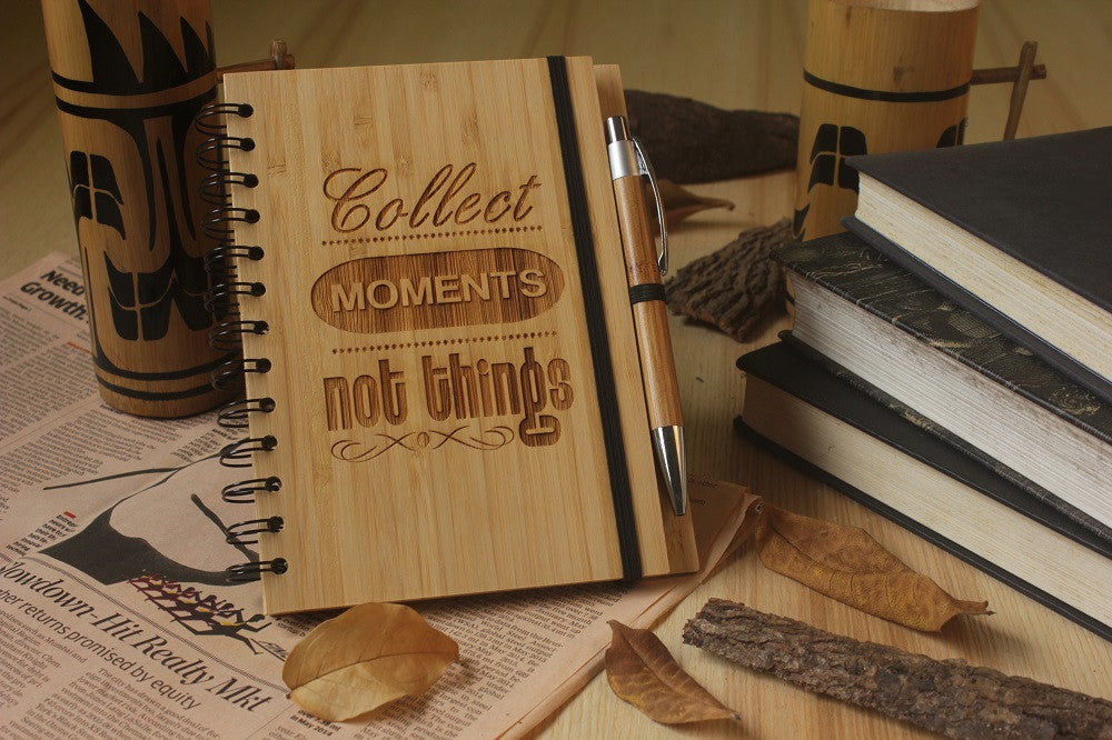 Collect Moments Not Things - Adventure & Travel Journal - Wood Notebook - Woodgeek Store