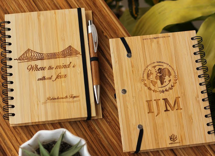 Corporate Bulk Orders - Custom wood journal with Tagore quote for International Justice Mission - Where the mind is without fear - Woodgeek Store