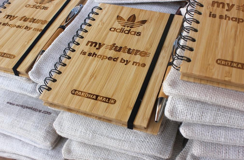 Corporate Bulk Orders - Custom wood journal for Adidas - Woodgeek Store