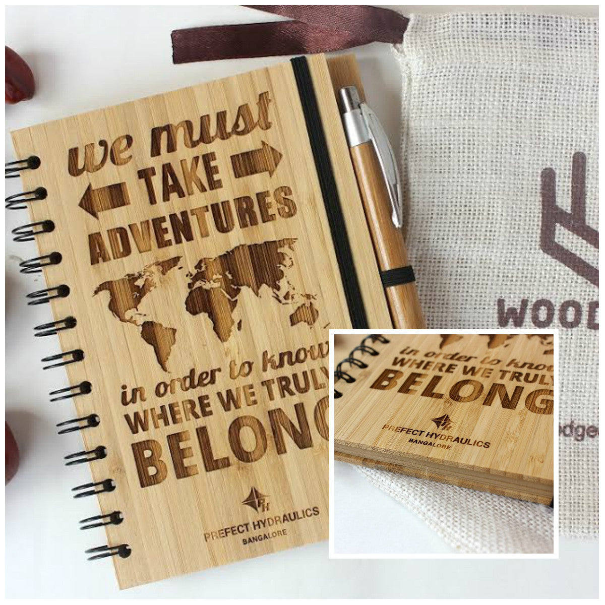Corporate gifts - Custom engraved notebook for Prefect Hydraulics - Wood Journal - Woodgeek Store