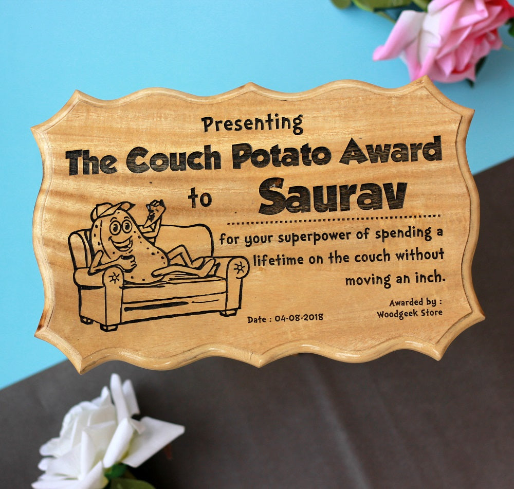Gifts for Brothers - Gifts for Sisters - Rakhi Gifts - Personalised Gifts - Funny Award Certificates - Couch Potato Award - Woodgeek Store