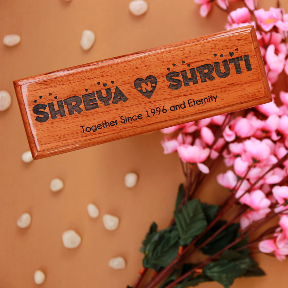 Personalized Wooden Nameplates For Couples - Wooden Nameplates For Home - Laser Engraved Gifts - Unique Custom Products - Lover's Day Gift - Cool Valentine's Day Gift - Wood Group - Woodgeek - Woodgeekstore