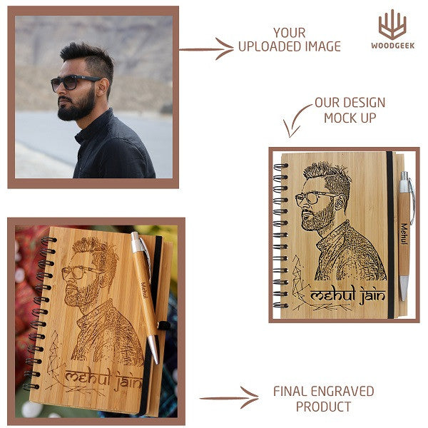 Design your own bamboo wood notebook with Woodgeek Store