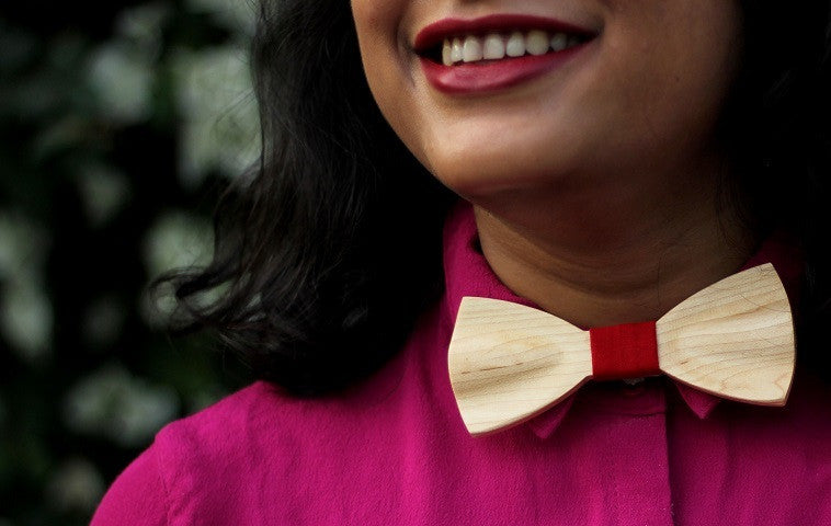 Wooden Bow tie made of birch wood customized with a name, initials or any other text