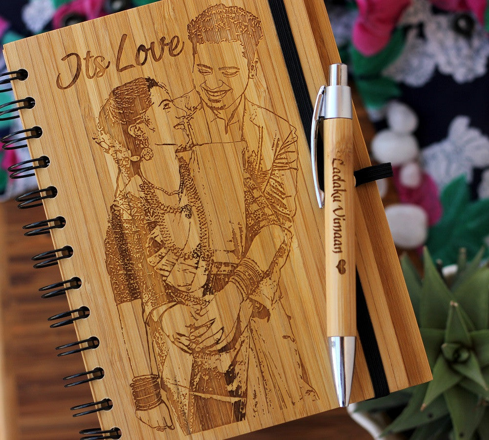 personalised Photo Gifts - Customised Bamboo Journal with Photo Engraving - Woodgeek Store