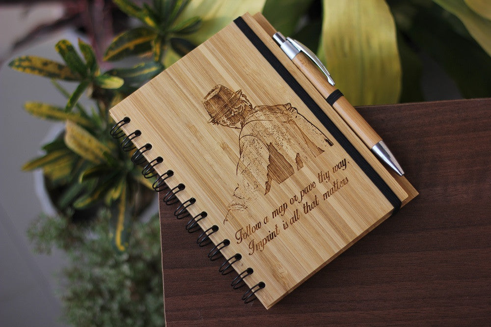 Custom Travel & Adventure Journal - Personalised Wooden Notebooks - Woodgeek Store
