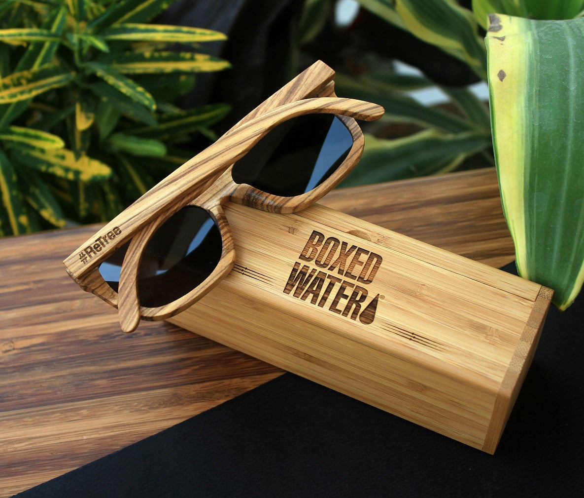 Custom Zebrawood Wooden Sunglasses for Boxed Water Is Better - Corporate Gifts - Woodgeek Store