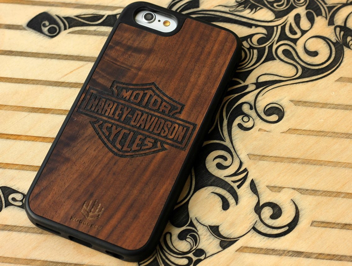 Custom Engraved Wooden Iphone Case for Bike Lovers - Harley Davidson - Woodgeek Store