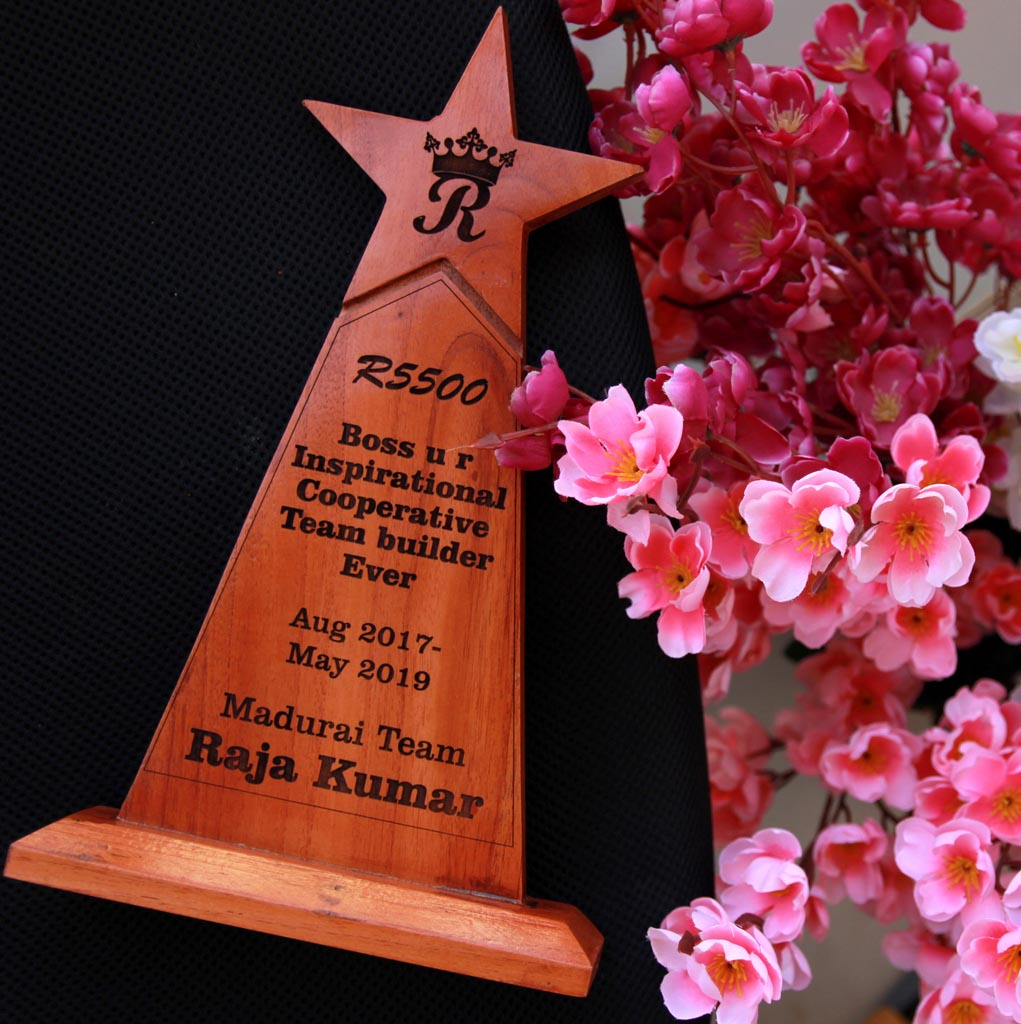 Customized Best Team Builder Wooden Star Trophy - These custom awards and trophies make great employee appreciation gifts - Looking for cool gifts for bosses ? This custom engraved award plaque makes great achievement awards