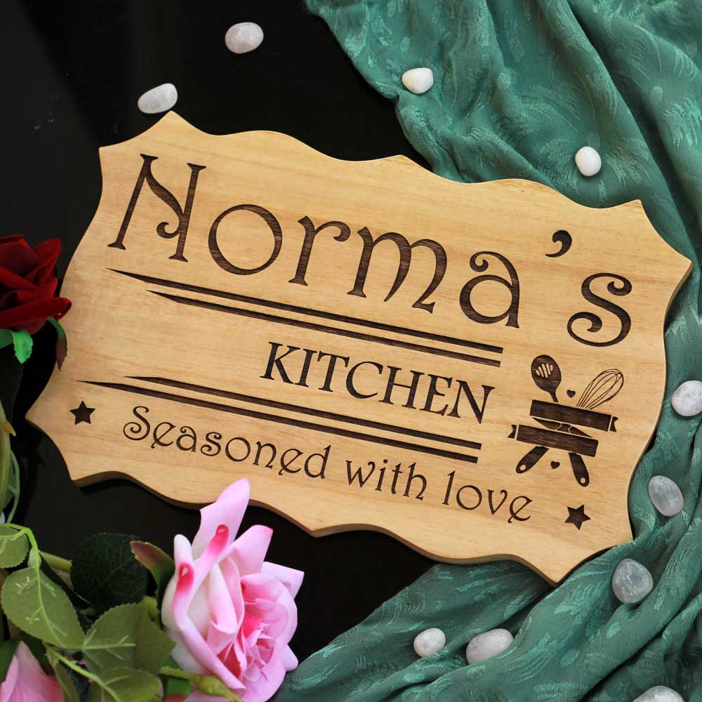 Personalised Wooden Kitchen Signs - Kitchen Name Plaques - Personalized Kitchen Decor - Kitchen Wall Decor - Home decor ideas- Wooden Home Decor - Woodgeek Store