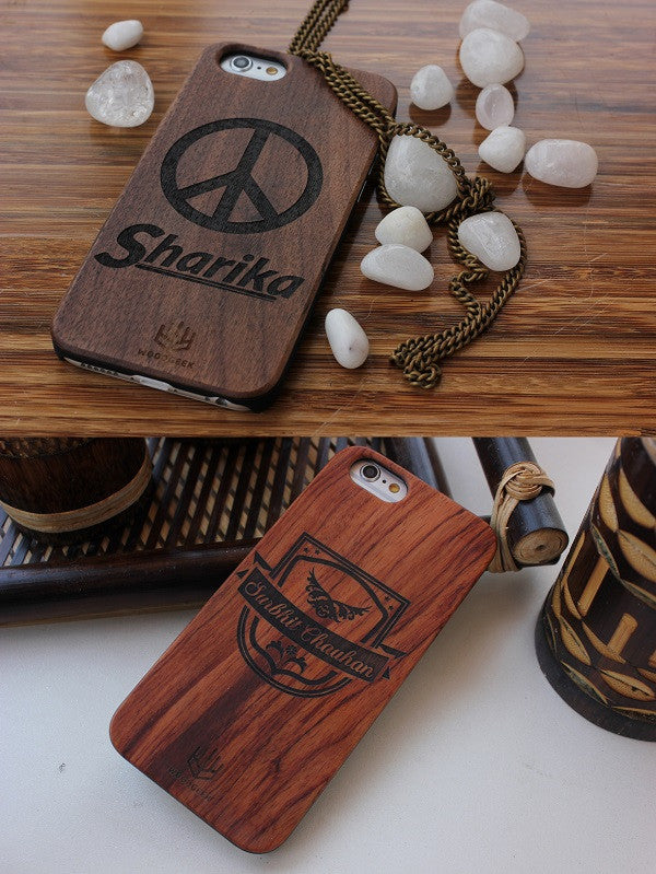 Personalized wooden iPhone case with name engraved from Woodgeek Store