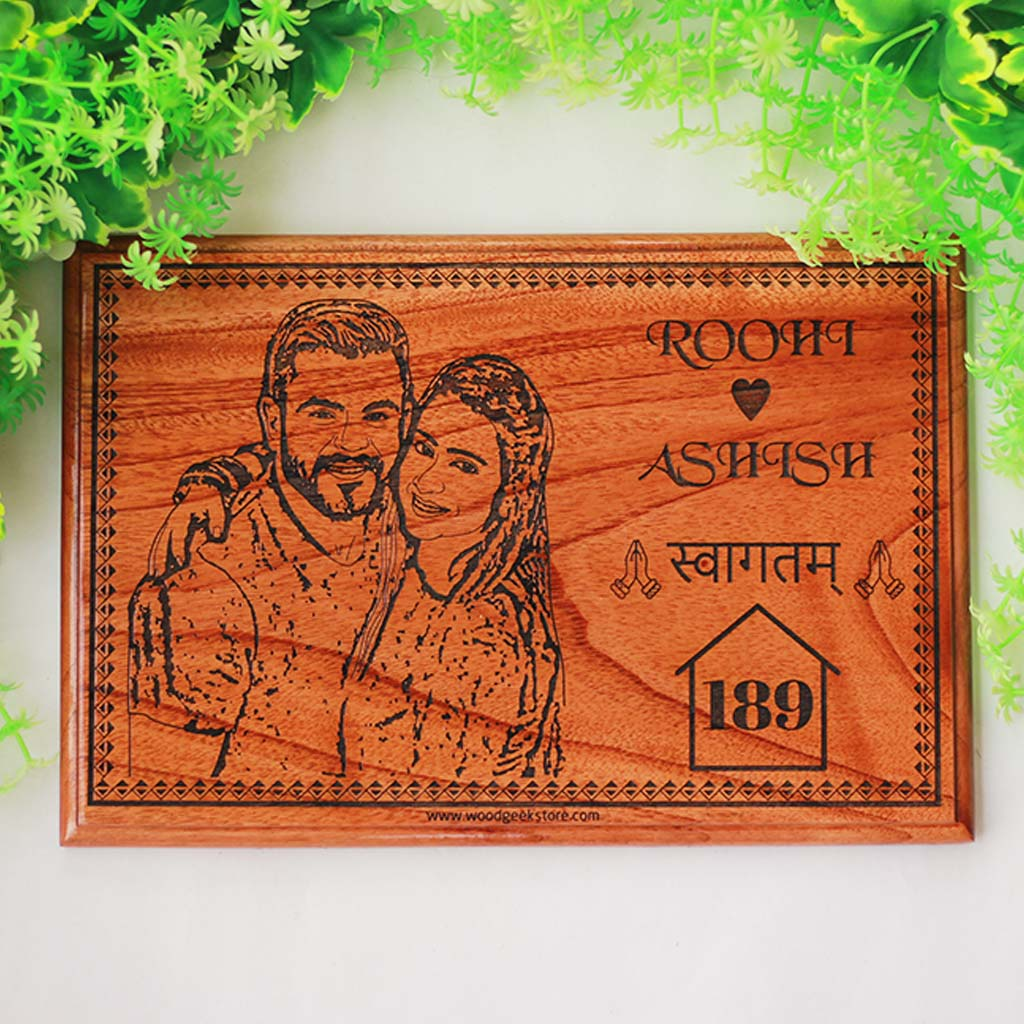 Custom Photo Engraved Wooden Name Plates - Customized Wooden Nameplates - Wall Name Plates - Engraved Plaque Plate - Name Plaques for Wall - Family Home Decor - Family Room Wall Decor - Family Room Design Ideas - Gift Items For Family - Cool Family Gifts -  Woodgeek Store