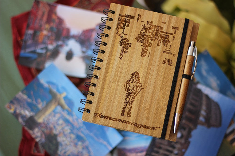Personalised Custom Wood Notebook - Travel Journal - Woodgeek Store