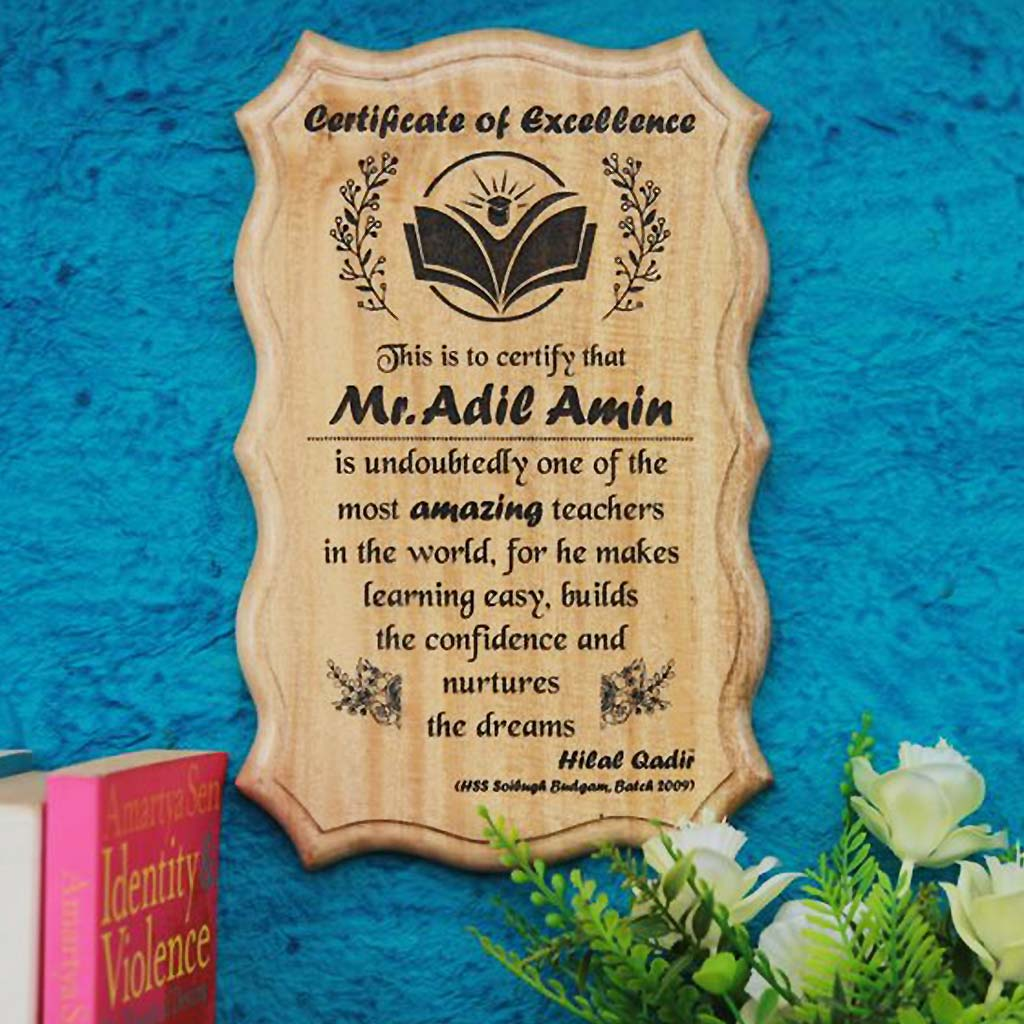 Customized Wooden Certificate Of Excellence For Teacher. This Wooden Award Certificate Makes A Unique Gift For Teachers. Buy More Personalized Gifts For Teachers From The Woodgeek Store.