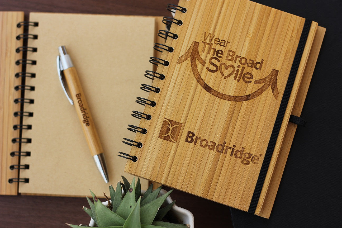 Custom Corporate Gifts - Logo engraved Notebooks - Wood Journal - Woodgeek Store