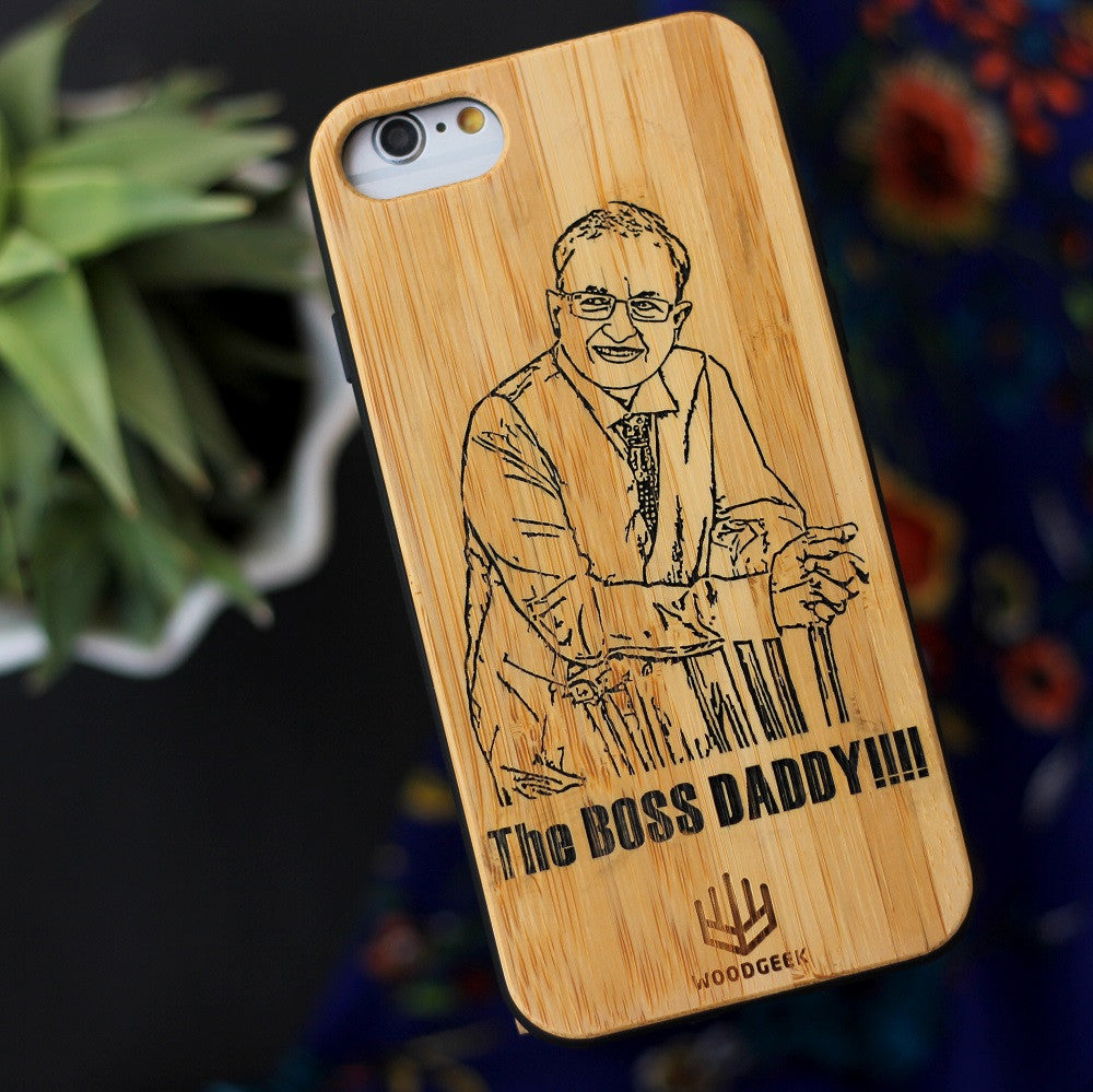 Custom Engraved Phone Case for Dad - Bamboo Wood Phone Case Engraved With Image - Personalized father's day Gifts - Woodgeek Store