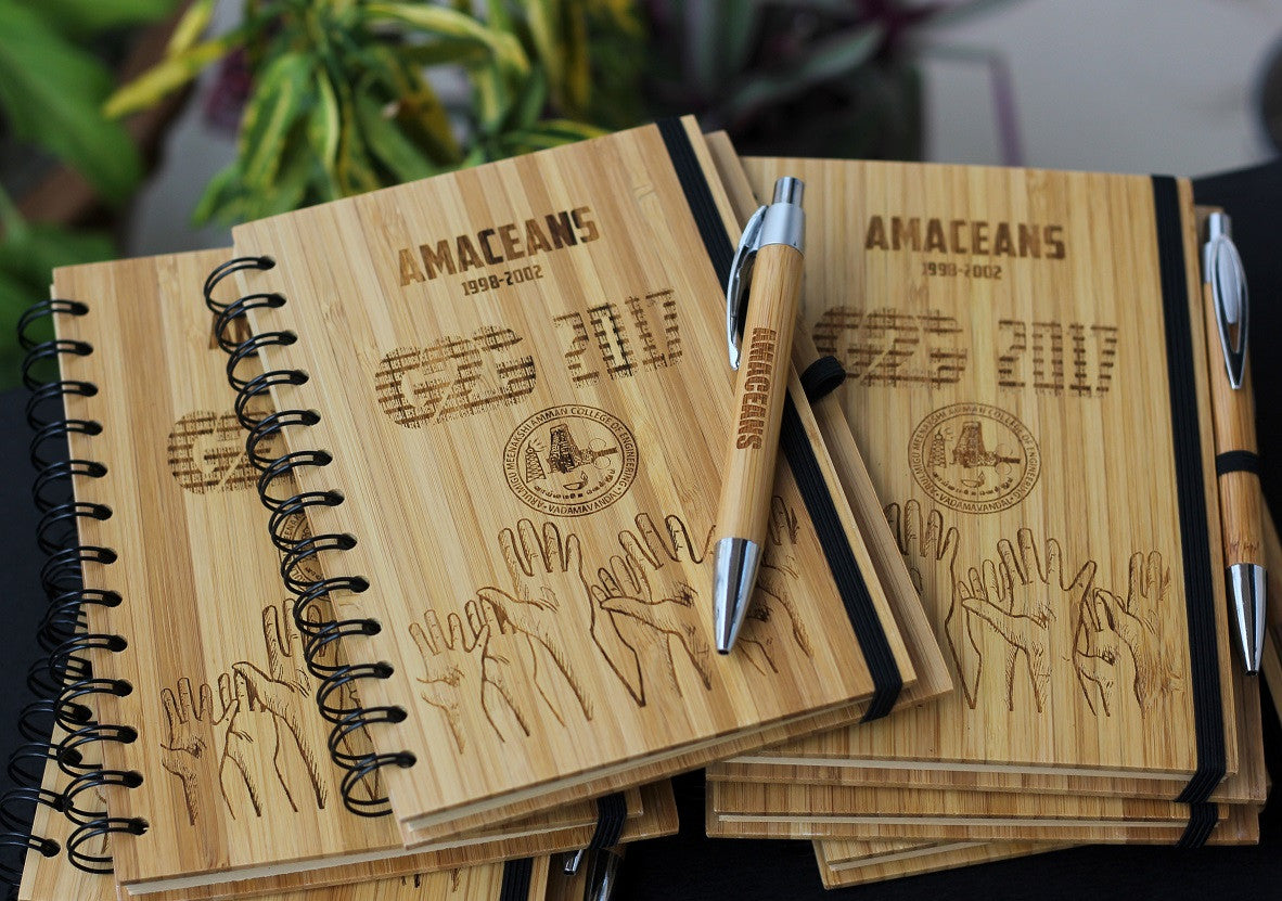 Customized notebooks for college reunions - Wooden Notebooks - Corporate Gifts - Woodgeek Store