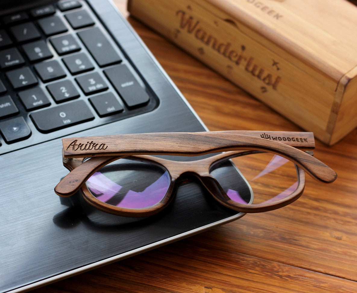 The Minimalist - Customized wooden eyeglasses - square spectacles - Woodgeek Store