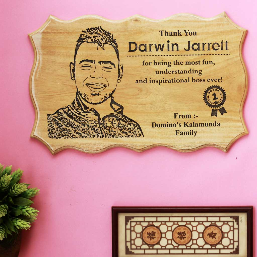 Customized Wooden Sign For Boss - This Photo On Wood Makes A Perfect Farewell Gift For Boss - Looking For Goodbye Gifts For Boss ? This Customized Wood Engraved Photo Is One Of The Best Send Off Gifts.