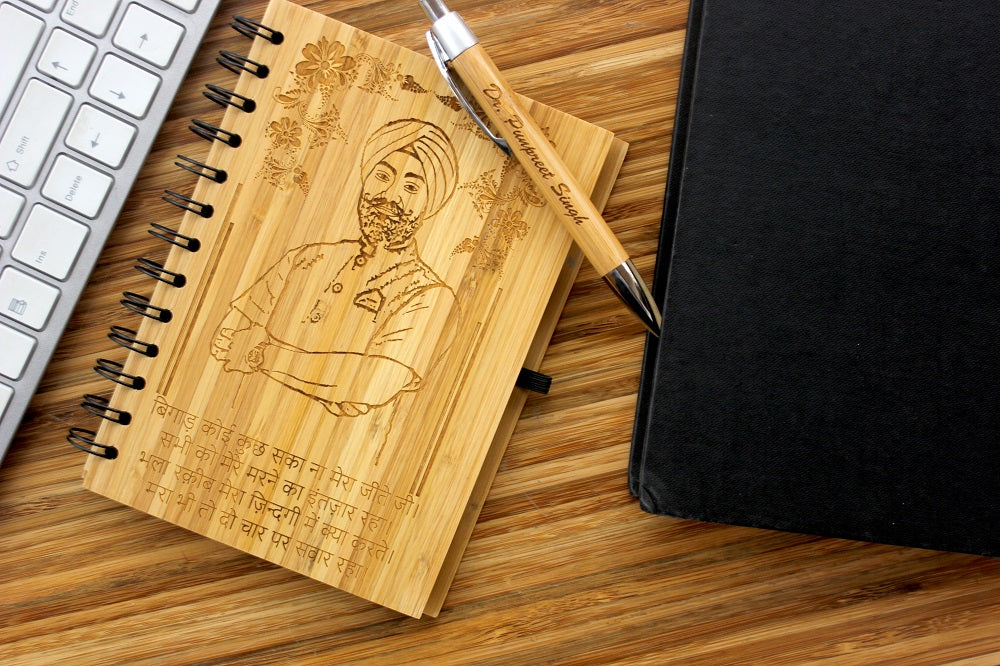 Personalised wood journal with image and text in any language - Woodgeek Store