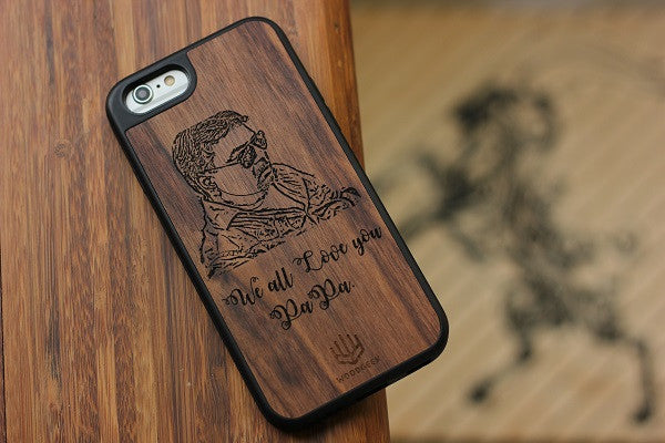 Personalised wooden iPhone case for dad - Woodgeek Store